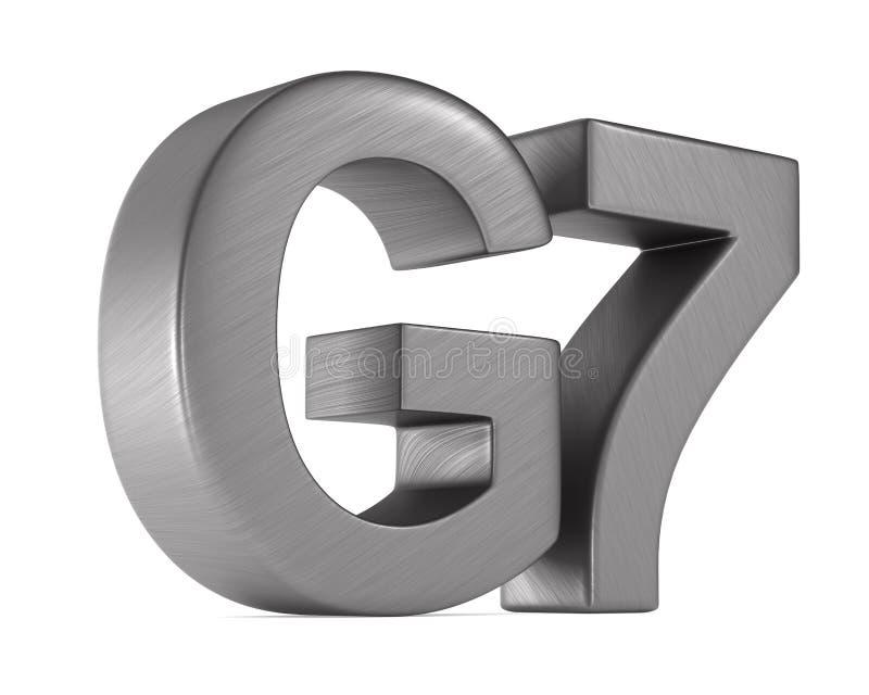 Grupo do G7 do sinal no fundo branco Ilustra??o 3d isolada ilustração do vetor