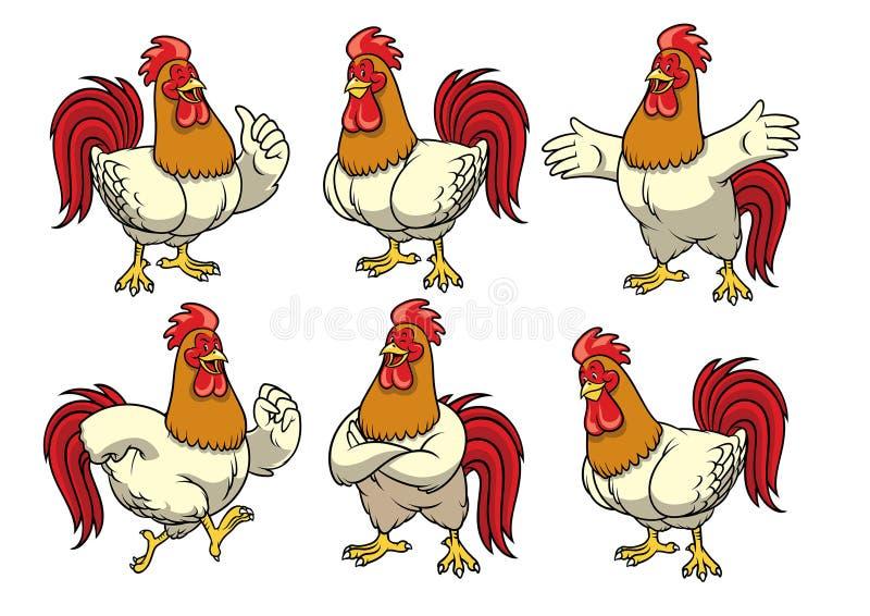 Grupo do galo da galinha com estilo dos desenhos animados ilustração do vetor