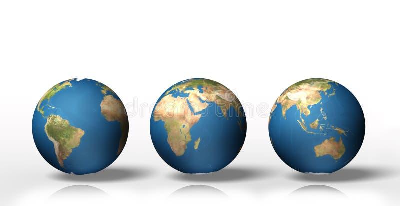 Grupo do globo 3D que mostra a terra com todos os continentes ilustração stock