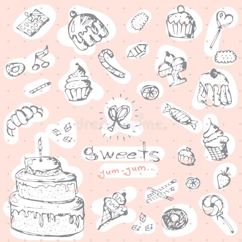 Grupo do gráfico de vetor de doces Mão decorativa coleção cor-de-rosa tirada dos delicios ilustração do vetor