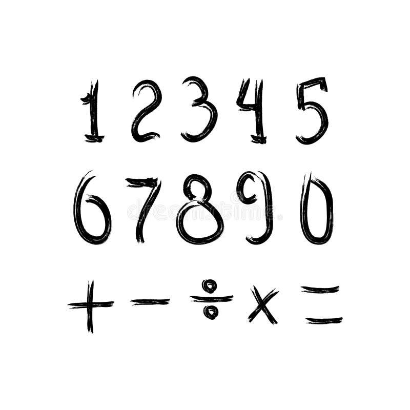 Grupo do Grunge de números e de sinais matemáticos Esbo?o, aquarela, pintura, grafitti Ilustra??o do vetor ilustração stock