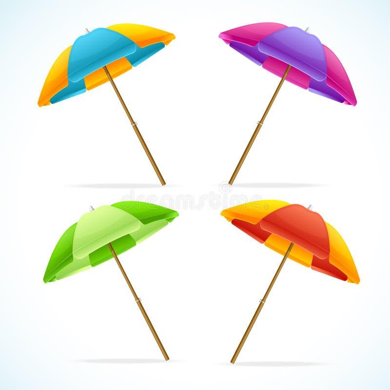 Grupo do guarda-chuva de praia do vetor ilustração stock