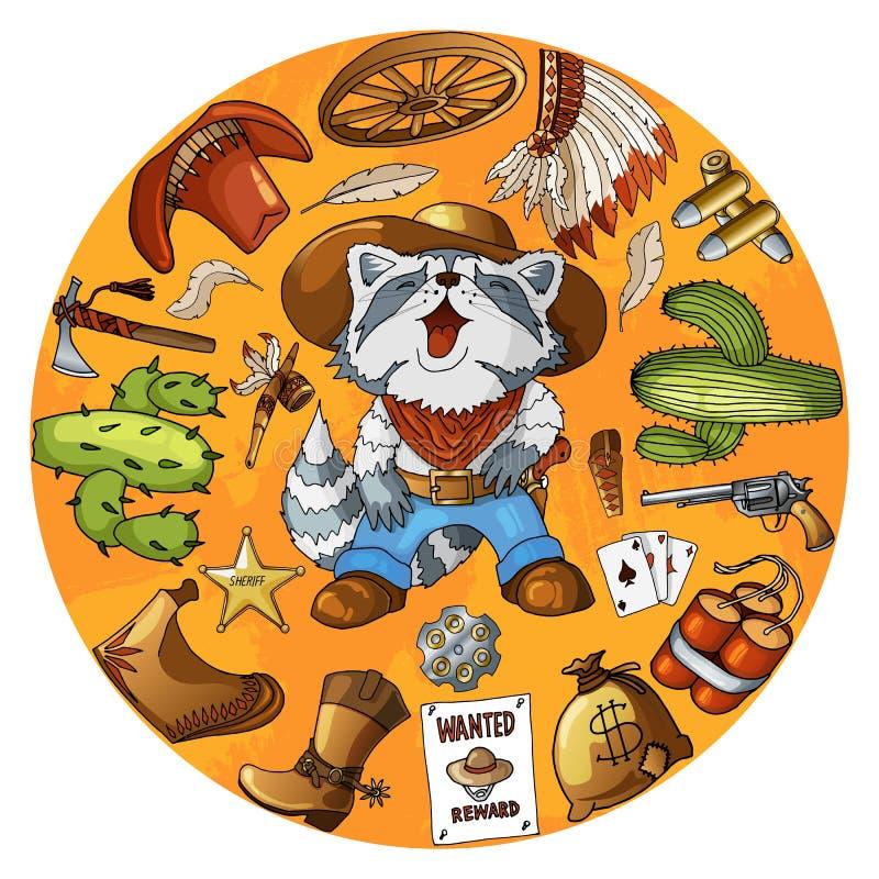 Grupo do guaxinim do vaqueiro do personagem de banda desenhada de cópia redonda do projeto dos artigos ocidentais clássicos ilustração stock
