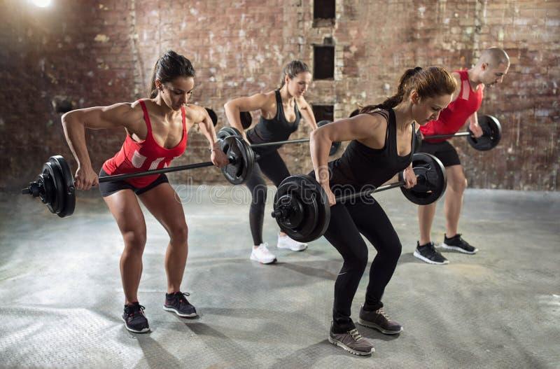 Grupo do Gym com exercício do levantamento de peso fotografia de stock royalty free