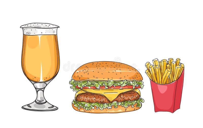 Grupo do Hamburger e os vidros de cerveja entregam a ilustração tirada do vetor da arte do estilo ilustração royalty free