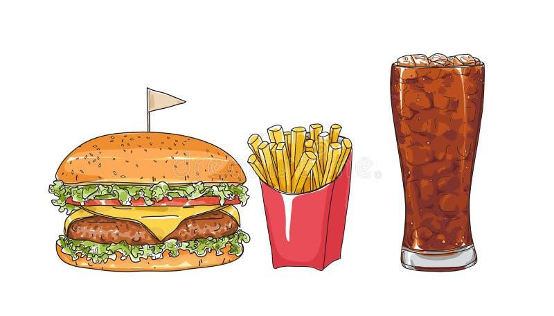 Grupo do Hamburger os vidros entregam a ilustração tirada do vetor da arte do estilo ilustração royalty free