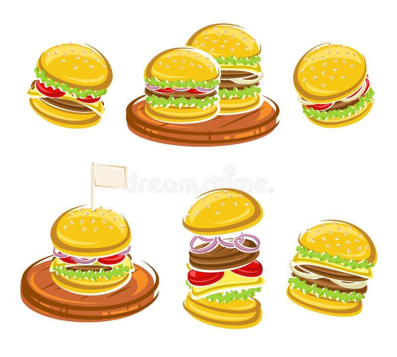 Grupo do Hamburger Vetor ilustração stock