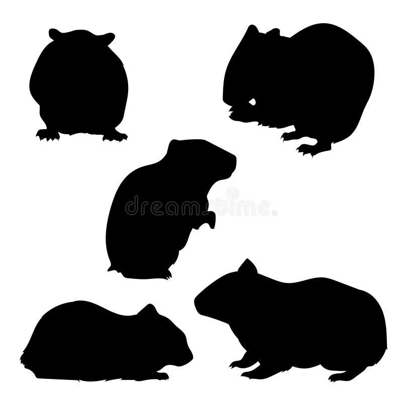 Grupo do hamster de silhuetas ilustração do vetor
