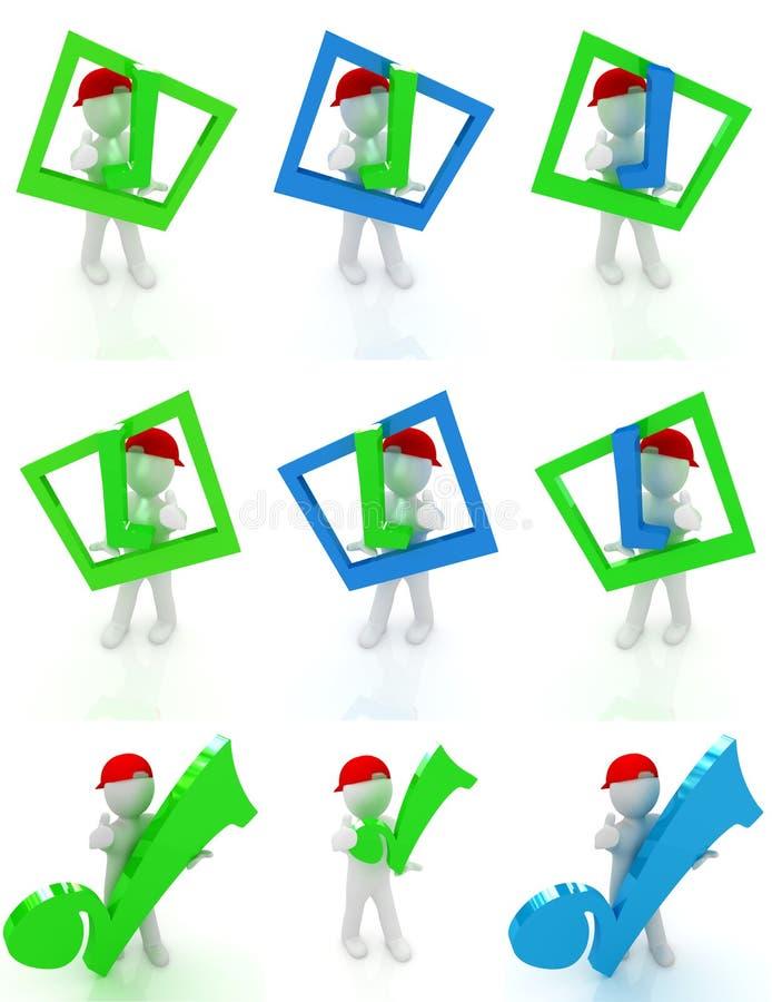 Grupo do homem 3d em um tampão repicado vermelho com polegar acima e um tiquetaque enorme ilustração stock