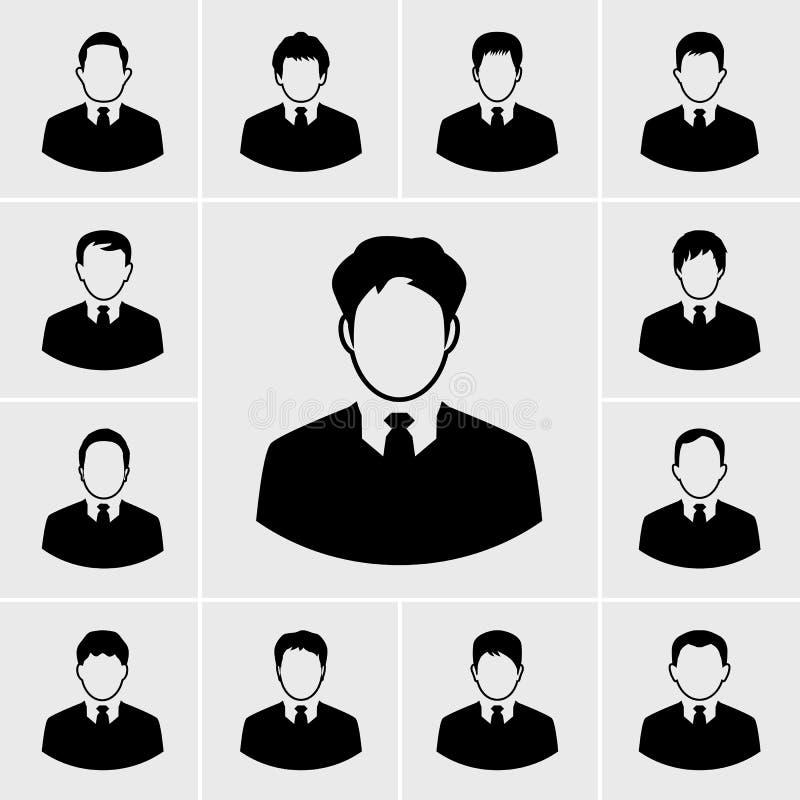 Grupo do homem de negócio dos ícones ilustração royalty free