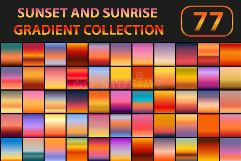 Grupo do inclinação do por do sol e do nascer do sol Fundos grandes do sumário da coleção com céu Ilustração do vetor ilustração royalty free