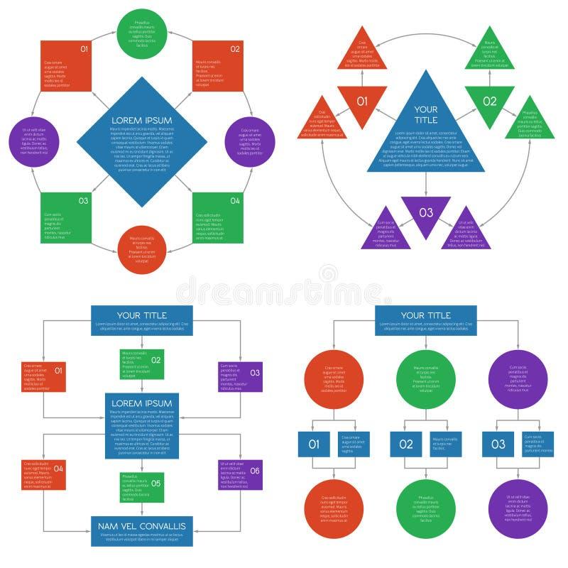 Grupo do infographics do vetor do fluxograma dos diagramas da hierarquia ilustração do vetor