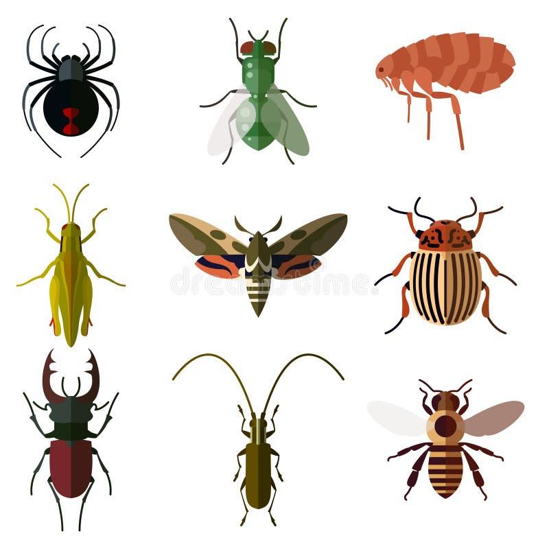 Grupo do inseto icons2 liso ilustração do vetor