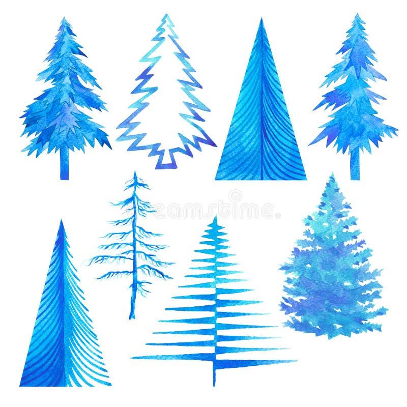 Grupo do inverno de árvore luz do tempo de inverno - aquarela azul pintado à mão ilustração do vetor
