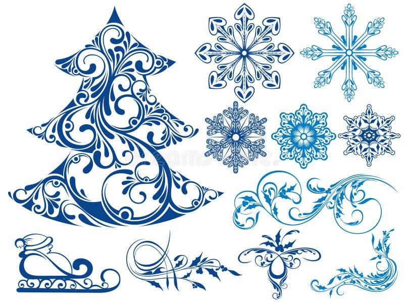 Grupo do inverno de elementos da neve ilustração royalty free