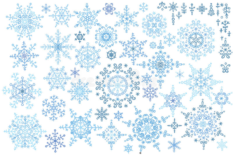 Grupo do inverno do floco de neve Garatujas do vetor ilustração do vetor