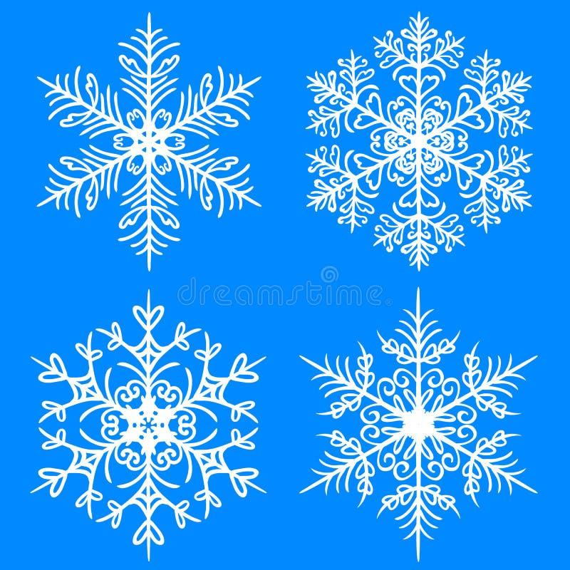 Grupo do inverno do floco de neve Silhuetas do vetor no fundo azul ilustração do vetor