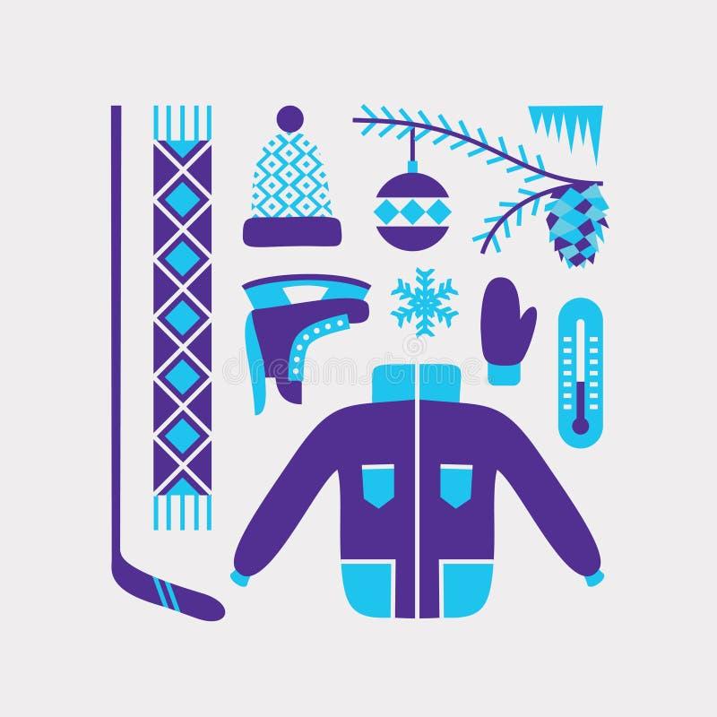 Grupo do inverno do vetor, fundo branco ilustração stock