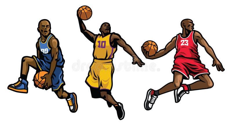 Grupo do jogador de basquetebol ilustração stock