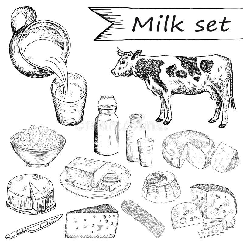 Grupo do leite ilustração stock