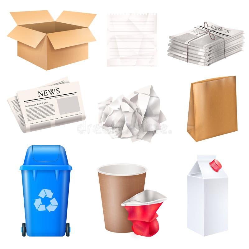Grupo do lixo e do desperdício ilustração stock