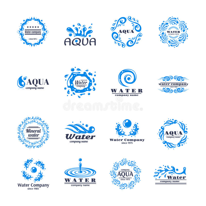 Grupo do logotipo da água ilustração royalty free