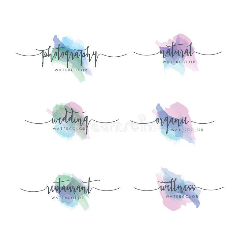 Grupo do logotipo da aquarela ilustração royalty free