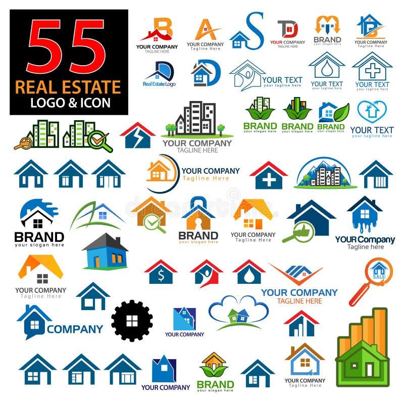Grupo do logotipo da casa Grupo de vectore colorido do logotipo da casa ilustração stock
