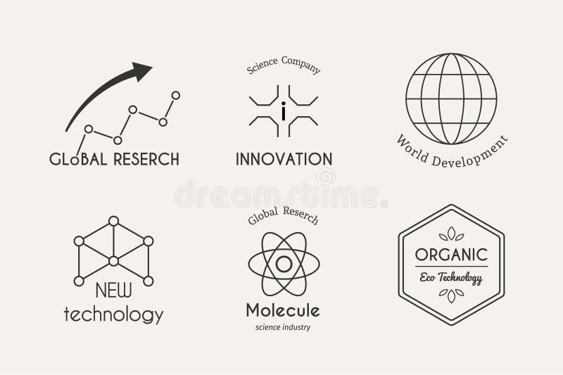 Grupo do logotipo da ciência do vetor ilustração stock