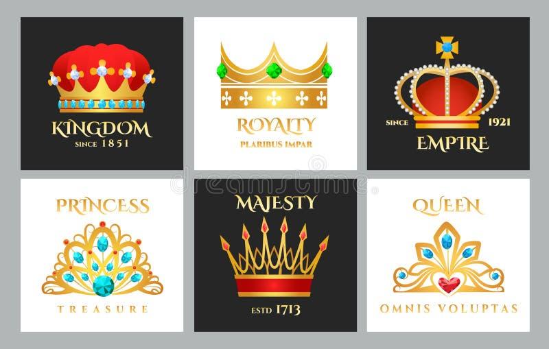 Grupo do logotipo da coroa ilustração stock