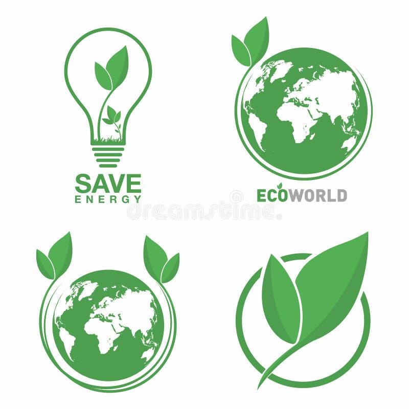 Grupo do logotipo da ecologia Mundo de Eco, folha verde, símbolo de poupança de energia da lâmpada Conceito amigável de Eco para  ilustração royalty free