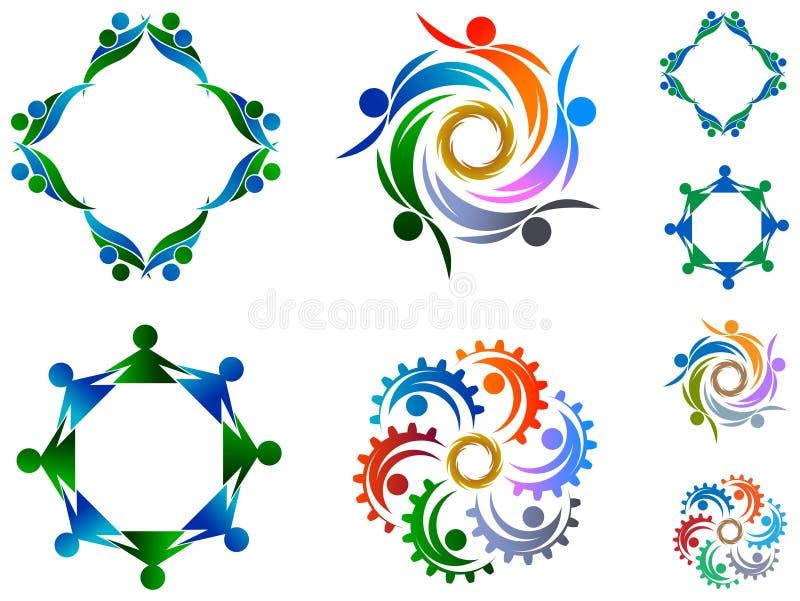 Grupo do logotipo da equipe ilustração stock