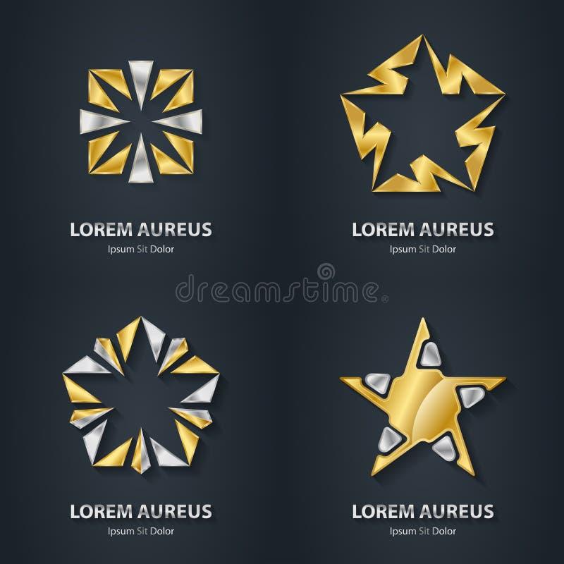 Grupo do logotipo da estrela do ouro e da prata Ícone da concessão 3d Logotype metálico ilustração royalty free
