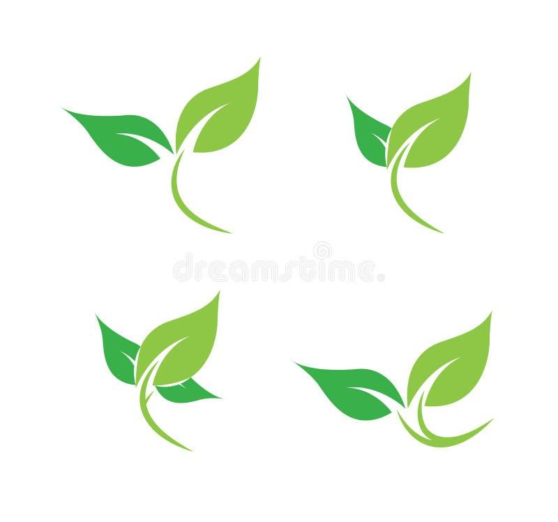 Grupo do logotipo da folha de vetores ilustração stock