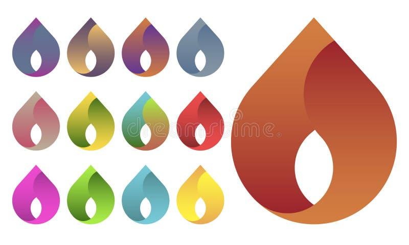 Grupo do logotipo da gota da água ilustração royalty free