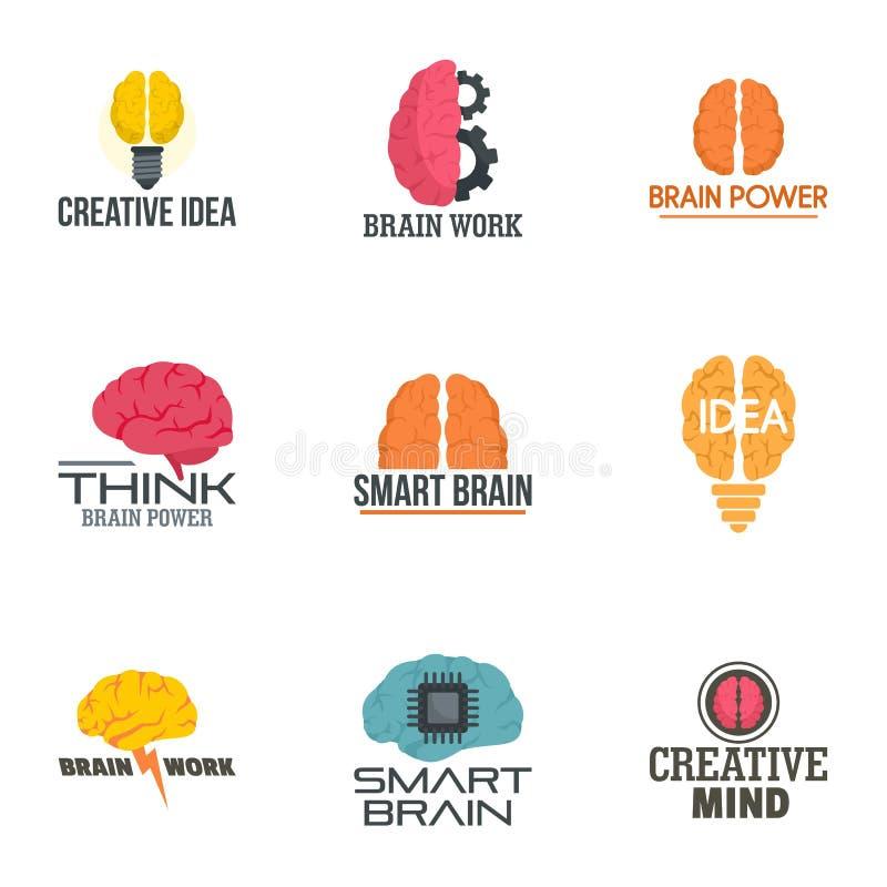 Grupo do logotipo da ideia do cérebro, estilo liso ilustração do vetor