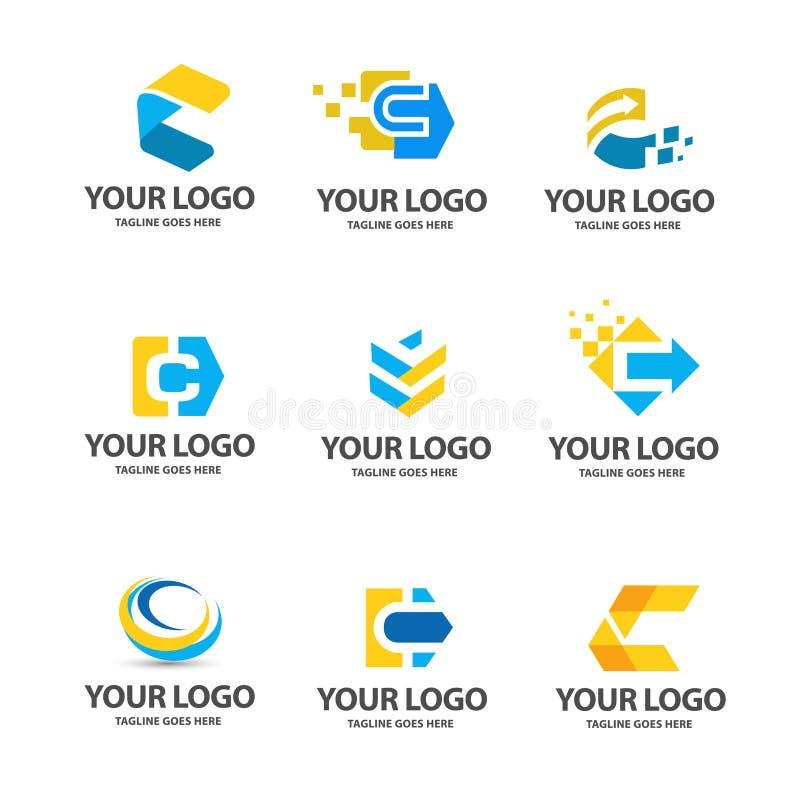 Grupo do logotipo da letra c ilustração stock