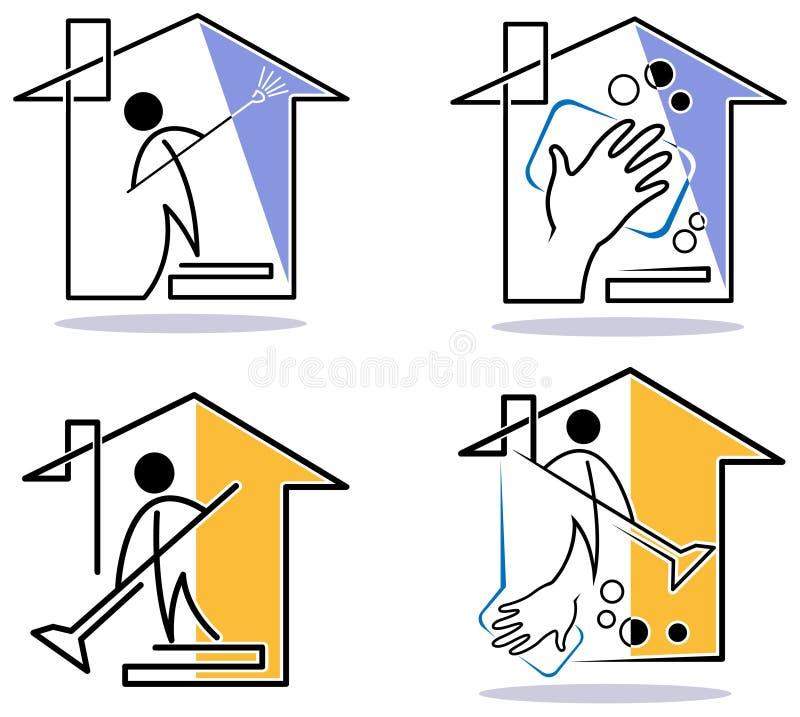Grupo do logotipo da limpeza da casa ilustração royalty free
