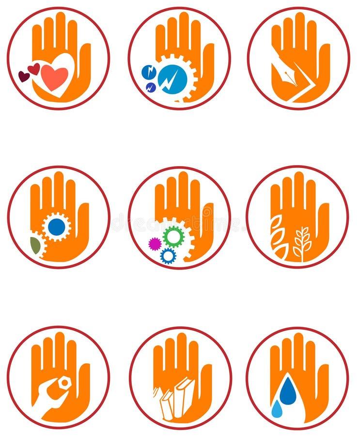 Grupo do logotipo da mão ilustração stock