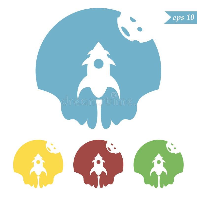 Grupo do logotipo da nave espacial, colorido, vetor ilustração do vetor