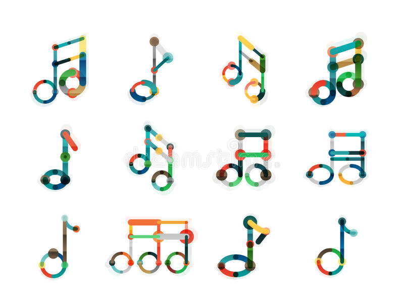 Grupo do logotipo da nota da música, linha fina lisa ícones geométricos ilustração royalty free