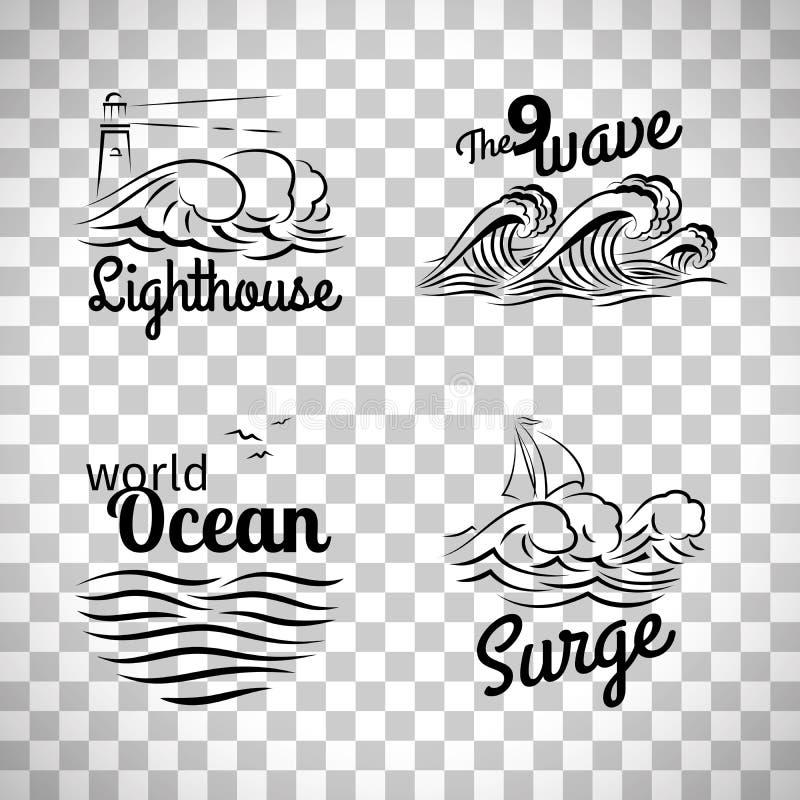 Grupo do logotipo da onda de oceano ilustração stock
