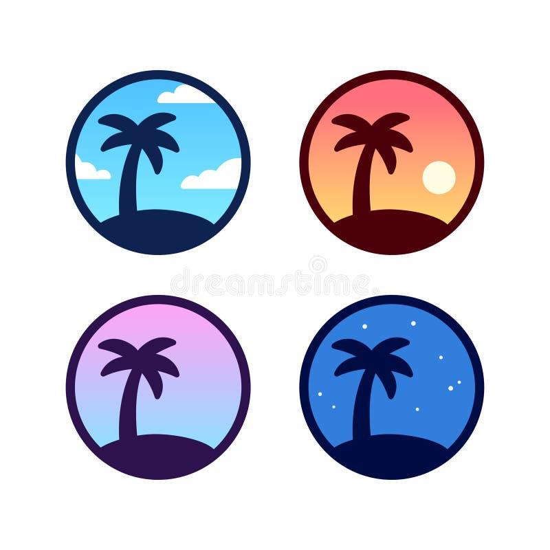 Grupo do logotipo da palmeira ilustração do vetor