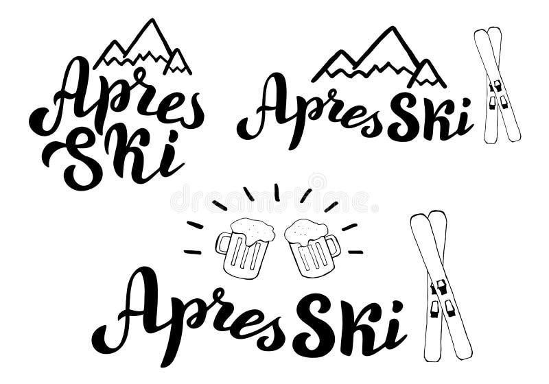 Grupo do logotipo da tipografia do esqui de Apres Bandeira do resort de montanha, cartaz Folheto da barra do esqui de Apres ilustração stock
