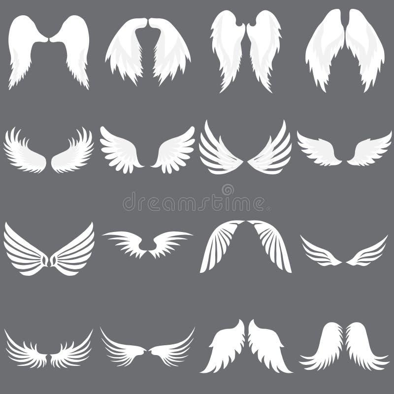 Grupo do logotipo de Angel Wing do vetor Empresa voada do logotipo Ajuste de Angel Wing bonito ilustração stock