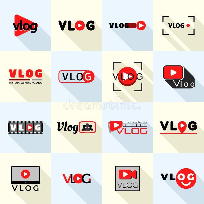 Grupo do logotipo de Vlog, estilo liso ilustração royalty free