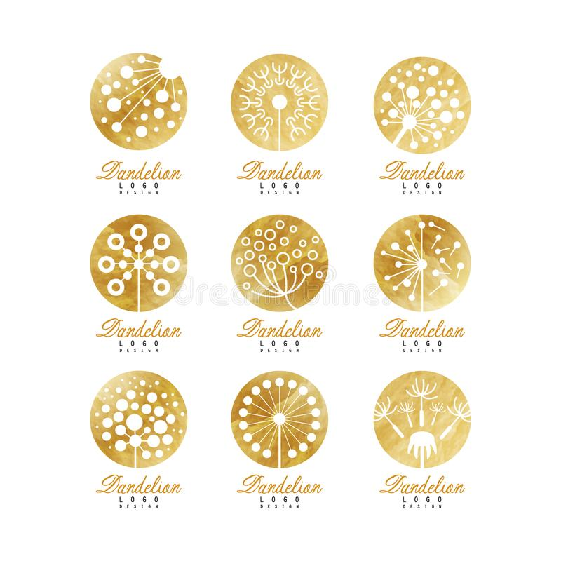 Grupo do logotipo do dente-de-leão, crachá bonito da natureza para seus próprios ilustrações do vetor do projeto ilustração stock