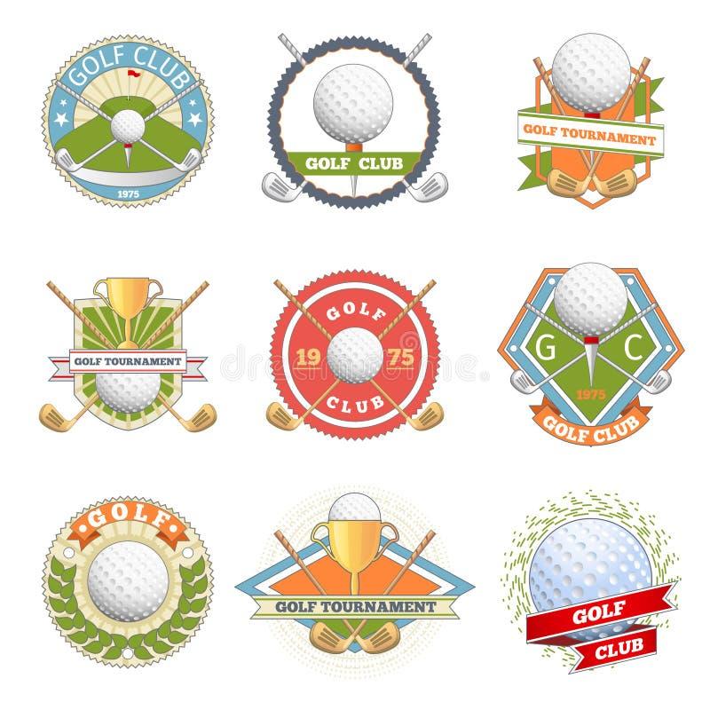 Grupo do logotipo do clube de golfe ilustração do vetor