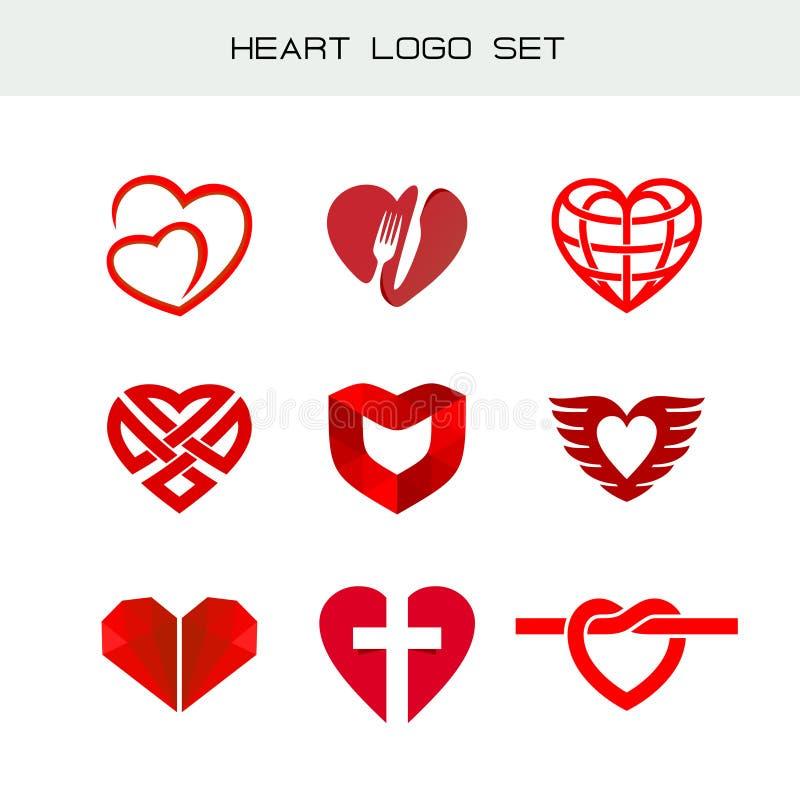 Grupo do logotipo do coração Símbolos vermelhos do coração ilustração stock