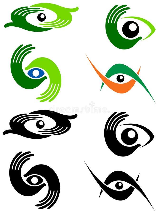 Grupo do logotipo do cuidado do olho ilustração stock